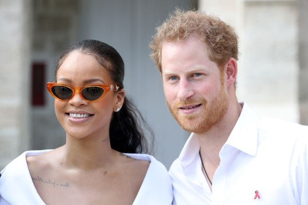 BRIDGETOWN, BARBADOS - DECEMBER 01: Rihanna and Prince Harry attend the 'Man Aware' event held by the Barbados National HIV/AIDS Commission on the eleventh day of an official visit on December 1, 2016 in Bridgetown, Barbados. Prince Harry's visit to The Caribbean marks the 35th Anniversary of Independence in Antigua and Barbuda and the 50th Anniversary of Independence in Barbados and Guyana. (Photo by Chris Jackson - Pool/Getty Images)