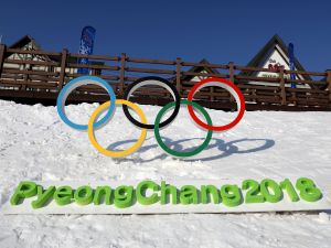 The Olympic rings near the venue for the Opening and Closing ceremonies ahead of the 2018 Winter Olympic Games in South Korea.