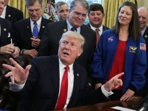 President Donald Trump hosted NASA personnel in the Oval Office last year.