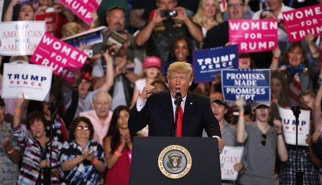 """President Donald Trump speaks to supporters during a """"Make America Great Again Rally"""" on April 29, 2017 in Harrisburg, Pa."""