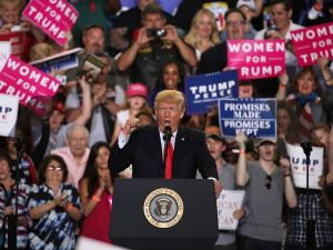 "President Donald Trump speaks to supporters during a ""Make America Great Again Rally"" on April 29, 2017 in Harrisburg, Pa."