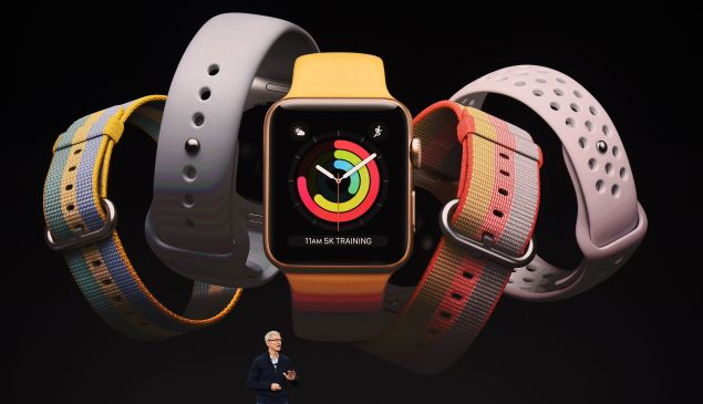 Apple CEO Tim Cook speaks about the Apple Watch during a media event at Apple's new headquarters during a media event where Apple is expected to announce a new iPhone and other products in Cupertino, California, on September 12, 2017.