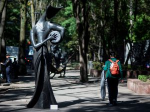 English-born Mexican artist Leonora Carrington's La Tamborilera, on view as part of the temporary urban exhibition set along Mexico City's Paseo de la Reforma Avenue.