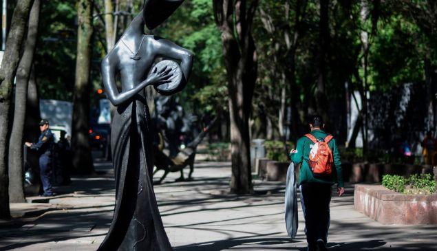 English-born Mexican artist Leonora Carrington's La Tamborilera, on view as part of the temporary urban exhibition set along Mexico City's Paseo de la Reforma Avenue.