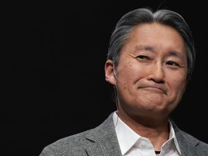Sony President and CEO Kazuo Hirai speaks during a press event for CES 2018.