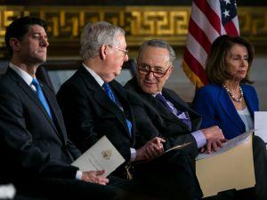 House Speaker Paul Ryan (R-WI), Senate Majority Leader Mitch McConnell (R-KY), Senate Minority Leader Chuck Schumer (D-NY) and House Minority Leader Nancy Pelosi (D-CA).