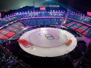 The Olympics rings during the opening ceremony of the Pyeongchang 2018 Winter Olympic Games.