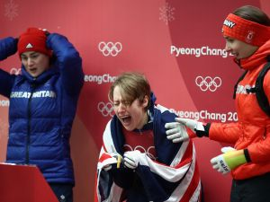 Lizzy Yarnold of Great Britain reacts as she wins the gold medal in Womens Skeleton at the 2018 Winter Olympics.