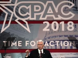 Vice President Mike Pence speaks during CPAC of February 22, 2018.