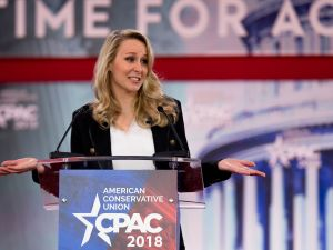 French far-right National Front (FN) party former member of parliament Marion Marechal-Le Pen speaking during the 2018 Conservative Political Action Conference.