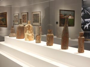 "Installation view of ""India's French Connection: Indian Artists in France."""