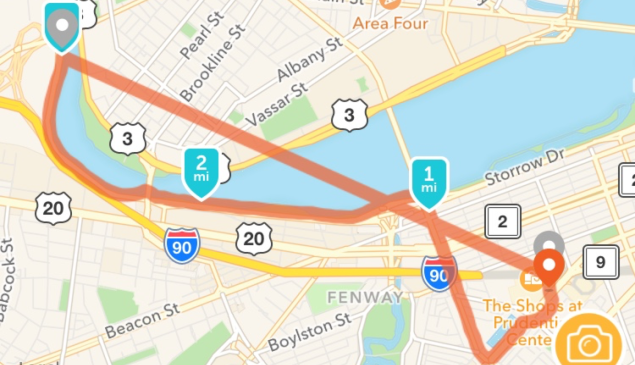 A run tracked on the Runkeeper app.