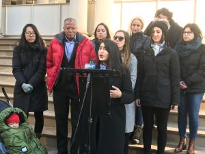 State Senate Democratic candidates rallied in front of City Hall on Thursday morning to call on the state government to improve its sexual harassment policy.