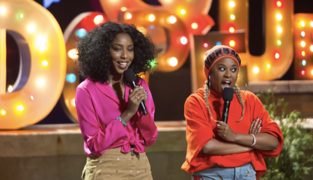 Jessica Williams and Phoebe Robinson of Two Dope Queens.