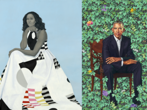 Portrait of Michelle Obama by Amy Sherald and portrait of Barack Obama by Kehinde Wiley.