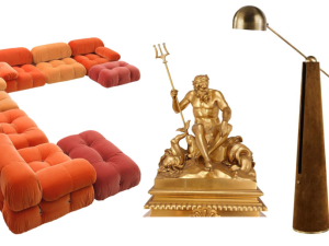 Mario Bellini's Camaleonda Sofa, French Antique Ormolu Mantel Clock by Ferdinand Barbedienne and Metronome Articulating Floor Lamp by Apparatus.