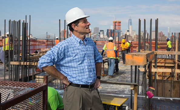 Former Gov. Eliot Spitzer, who is also a developer, at his upcoming South Williamsburg development.