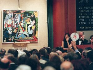 The auction of Pablo Picasso's painting, Les femmes d'Alger at Christie's.