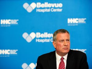Mayor Bill de Blasio at Bellevue Hospital Center in New York City.