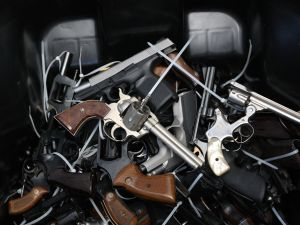 Surrendered handguns.