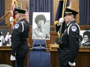 A memorial service for the late Shirley Chisholm, the country's first African-American congresswoman, in 2005.