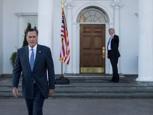 President Donald Trump and Mitt Romney.