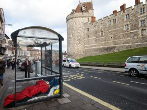 A person sleeps in a bus shelter outside Windsor Castle on January 5, 2018 in Windsor, England.