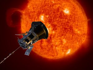 Artist rendering of Parker Solar Probe on close approach to the Sun.