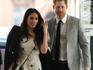 LONDON, UNITED KINGDOM - APRIL 18: Prince Harry and Meghan Markle attend a reception with delegates from the Commonwealth Youth Forum at the Queen Elizabeth II Conference Centre, during the Commonwealth Heads of Government Meeting on April 18, 2018 in London, United Kingdom