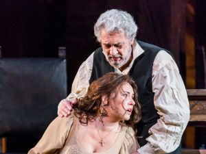 The Millers (Plácido Domingo and Sonya Yoncheva) have nothing left to share but their sorrow.