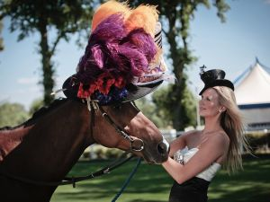 """ASCOT, ENGLAND - JUNE 14: In this handout image provided by Cow PR, Ambers, a racehorse owned by Fox's Biscuits, is pictured wearing the world's first ever Ladies' Day hat for a horse alongside racegoer Elizabeth Beswick on June 14, 2011 in Ascot, England. Milliner, Stephen Jones has today created the first-ever hat for a horse to celebrate the 300th anniversary of Royal Ascot and its Ladies' Day tradition of extravagant headwear. The unique piece of horse couture has been commissioned by Fox's Biscuits to be elegantly worn by the biscuit manufacturer's own fine filly, Ambers - a racehorse named after the new biscuit range, Fox's Ambers. The hat represents Stephen Jones's first foray into filly fashion; whose designs are typically tailored for a who's who of the world's most famous Stars, including royalty. The revered fashion designer is also the official milliner for Royal Ascot in its tercentenary year. The horse's hat draws its inspiration from the timeless Ladies' Day headpiece made famous by Audrey Hepburn in the film My Fair Lady. With floral flourishes and lavender and amber feathers adding flashes of colour alongside luxurious satin, it is the epitome of equine elegance. From concept to construction, the hat took more than 30 hours of masterful millinery to complete and is valued at over £8,000. Commenting on the design, Stephen Jones said: """"For three centuries Royal Ascot has been home to some of the world's finest horses and finest hats. But until now, nobody had ever created hats for the other important ladies of the day: the female racehorses. When I was approached to create a hat for a horse, it brought a smile to my face and seemed like a fun and unique way to celebrate 300 years of the world's most famous racing event."""