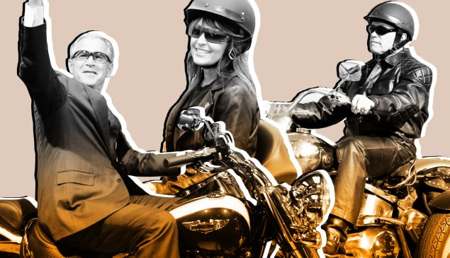 George W. Bush, Sarah Palin and Arnold Schwarzenegger all pose on Harley-Davidsons.