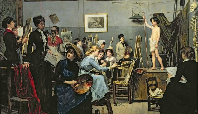 Marie Bashkirtseff, In the Studio, 1881. Oil on canvas, 60 5/8 x 73 1/4 in. Dnipropetrovsk/Bridgeman Images. Courtesy American Federation of Arts