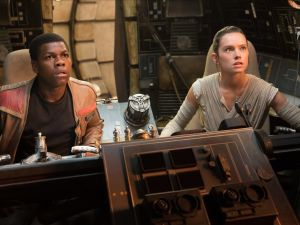 John Boyega as Finn and Daisy Ridley as Rey in Star Wars: The Last Jedi.