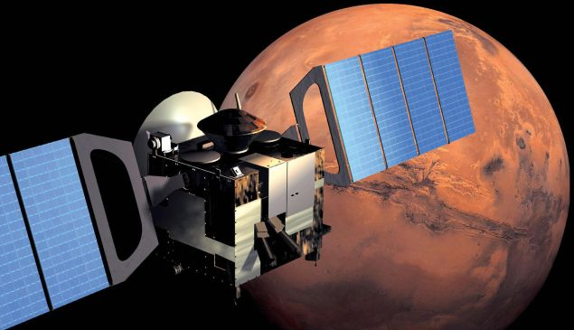 This artist impression image released by European Space Agency (ESA) shows Mars Express in orbit around Mars.
