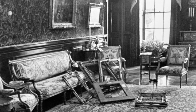 Empty frames in a room at Russborough House, home of millionaire art collector Alfred Beit. A gang stole 19 paintings from the property in County Wicklow.