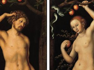 Adam and Eve, 1526, by Lucas Cranach the Elder.