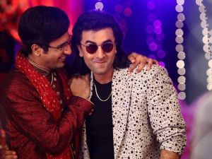 Vicky Kaushal and Ranbir Kapoor in Sanju.