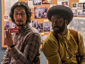 Adam Driver as Flip Zimmerman and John David Washington as Ron Stallworth in Spike Lee's BlacKkKLansman.