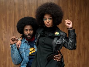 David Washington and Laura Harrier in Spike Lee's BlacKkKlansman.