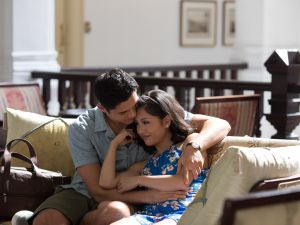 Henry Golding as Nick and Constance Wu as Rachel in Crazy Rich Asians.