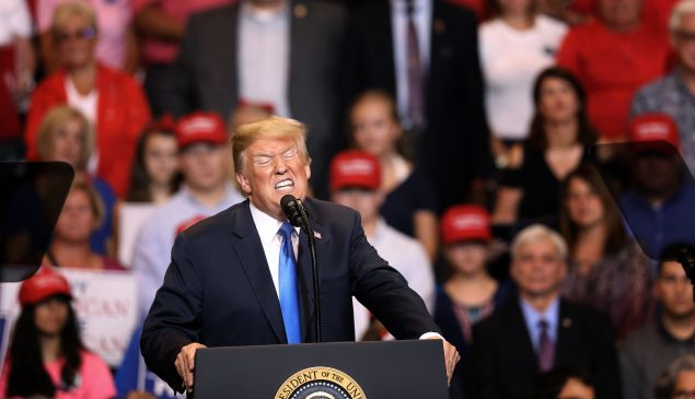WILKES BARRE, PA - AUGUST 02: President Donald J. Trump speaks to a large crowd gathered to see him on August 2, 2018 at the Mohegan Sun Arena at Casey Plaza in Wilkes Barre, Pennsylvania. This is Trump's second rally this week; the same week his former campaign chairman Paul Manafort started his trial that stemmed from special counsel Robert Mueller's investigation into Russias alleged interference in the 2016 presidential election.
