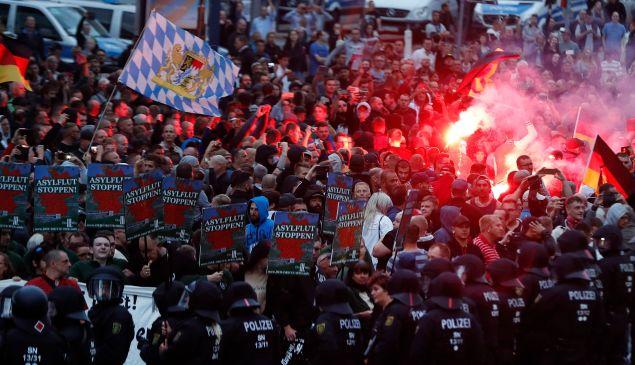 Far-right demonstrators in Chemnitz, Germany this week.