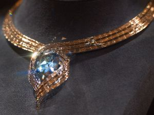 The Hope Diamond seen in a temporary setting called 'Embracing Hope.'