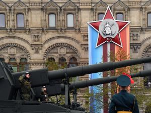 Russian Koalitsiya-SV self-propelled howitzers ride through Red Square during the Victory Day military parade in Moscow on May 9, 2017. Russia marks the 72nd anniversary of the Soviet Union's victory over Nazi Germany in World War Two. / AFP PHOTO / Kirill KUDRYAVTSEV (Photo credit should read KIRILL KUDRYAVTSEV/AFP/Getty Images