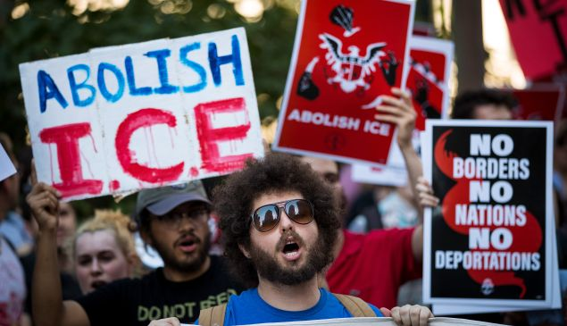 Activists march and rally against ICE and the Trump administration's immigration policies, outside of the ICE offices in New York City.