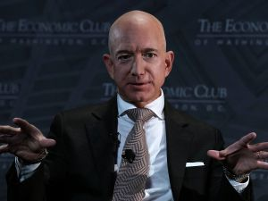 Jeff Bezos Speaks At Economic Club Of Washington With Club President David Rubenstein