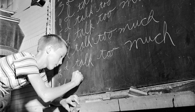 A time-honored punishment for an over vocal student in the 1960s.