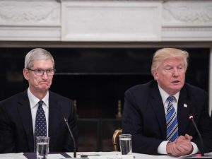 Apple CEO Tim Cook had dinner with President Trump one month before Apple's product launch.