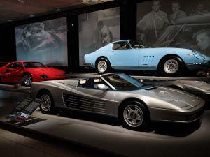(L-R) A Ferrari F-40 1987, a Ferrari Testarossa Spyder 1986 and a Ferrari 275 GTB/4 1967.